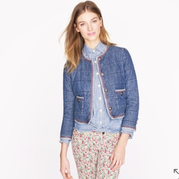 J. Crew Jackets & Blazers - Like New! J. Crew Collection Quilted denim jacket